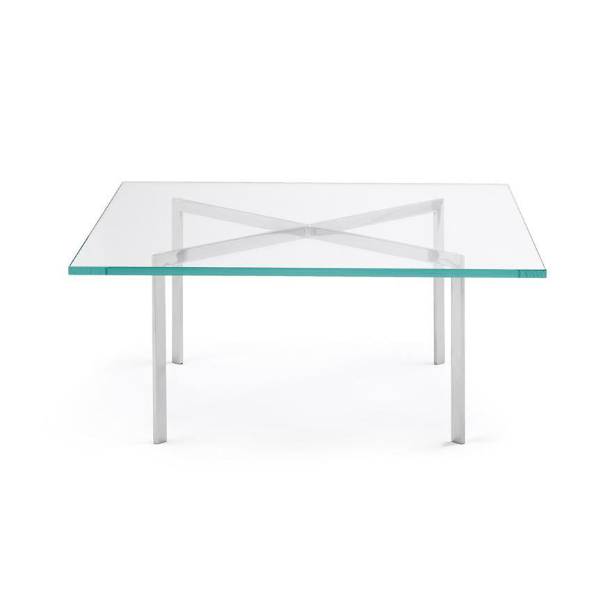 Couchtisch / Bauhaus Design / Glas / Verchromtes Metall / Quadratisch    BARCELONA®