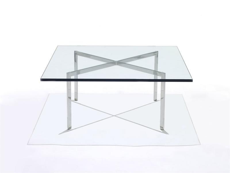 Couchtisch Bauhaus Design Glas Verchromtes Metall