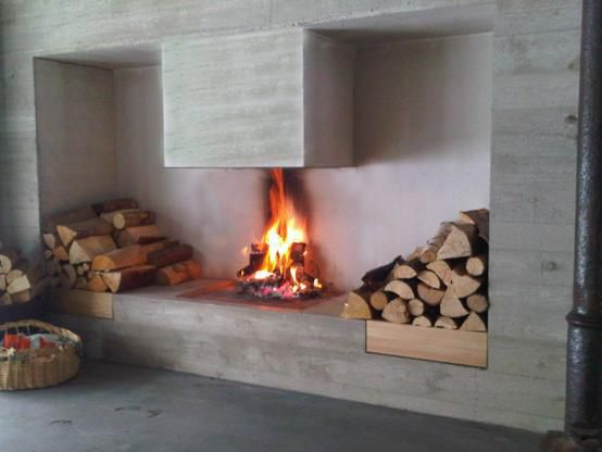 Holzbefeuerter Kamin Modern Offene Feuerstellen Zentral
