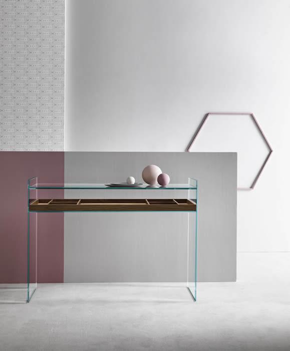 Moderne Konsolentisch / Nussbaum / Aus MDF / Glas QUILLER By Uto Balmoral  TONELLI Design ...