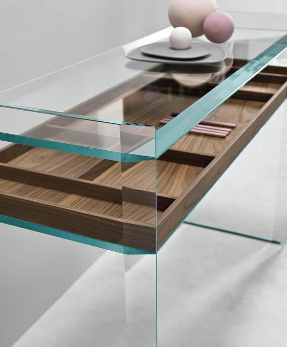 ... Moderne Konsolentisch / Nussbaum / Aus MDF / Glas QUILLER By Uto  Balmoral TONELLI Design ...