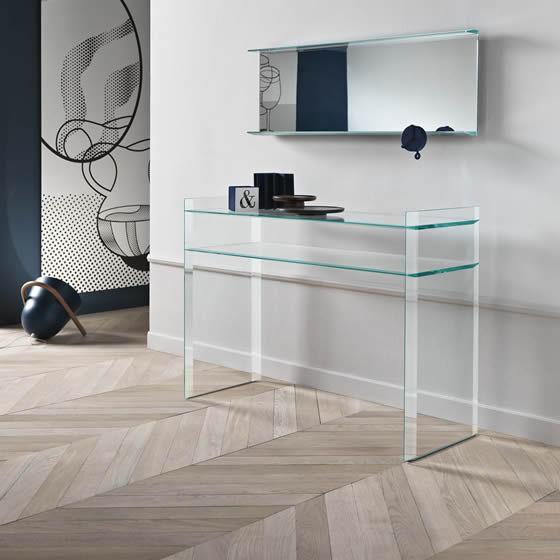 Moderne Konsolentisch / Nussbaum / Aus MDF / Glas   QUILLER By Uto Balmoral