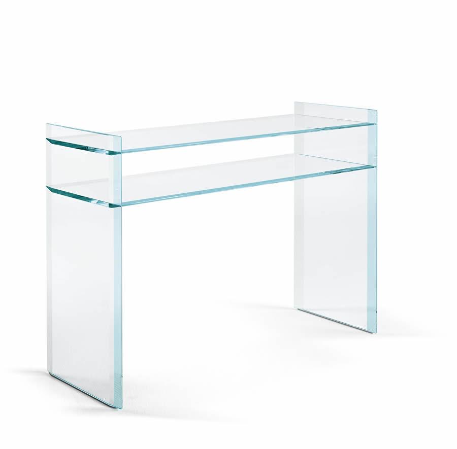 ... Moderne Konsolentisch / Nussbaum / Aus MDF / Glas QUILLER By Uto  Balmoral TONELLI Design