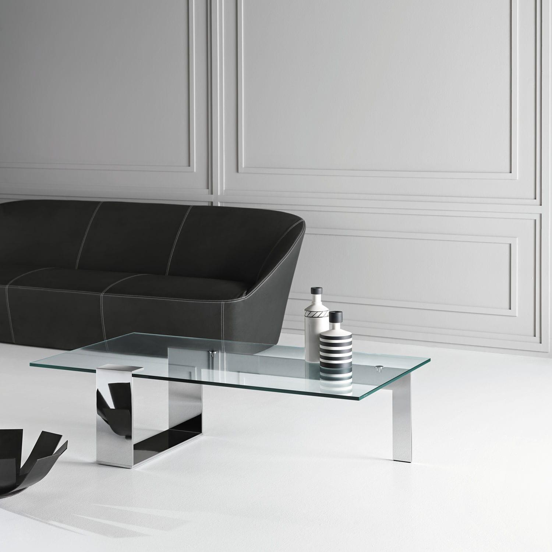 Moderner Couchtisch / Hartglas / verchromtes Metall / rechteckig ...