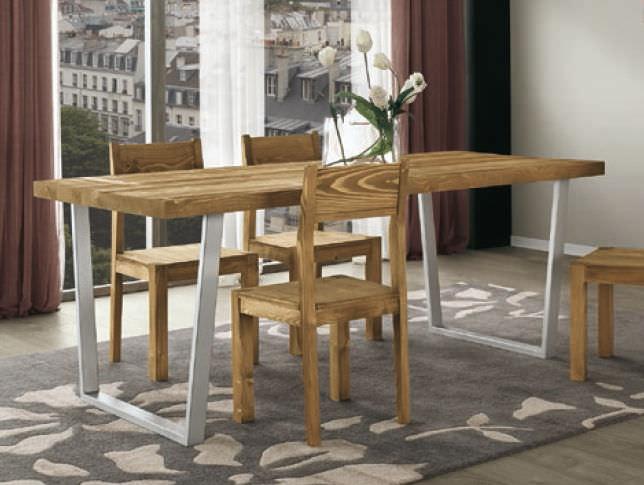 Moderner Esstisch Holz Metall Rechteckig Tecno Art 1398