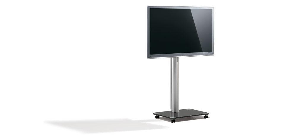 Moderner Tv Stander Mit Rollen Schwenkbar Glas Floor