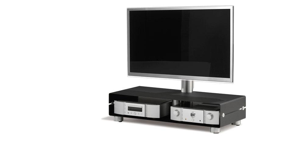 Moderner TV Ständer / mit Rollen / schwenkbar / Glas - FLOOR ...