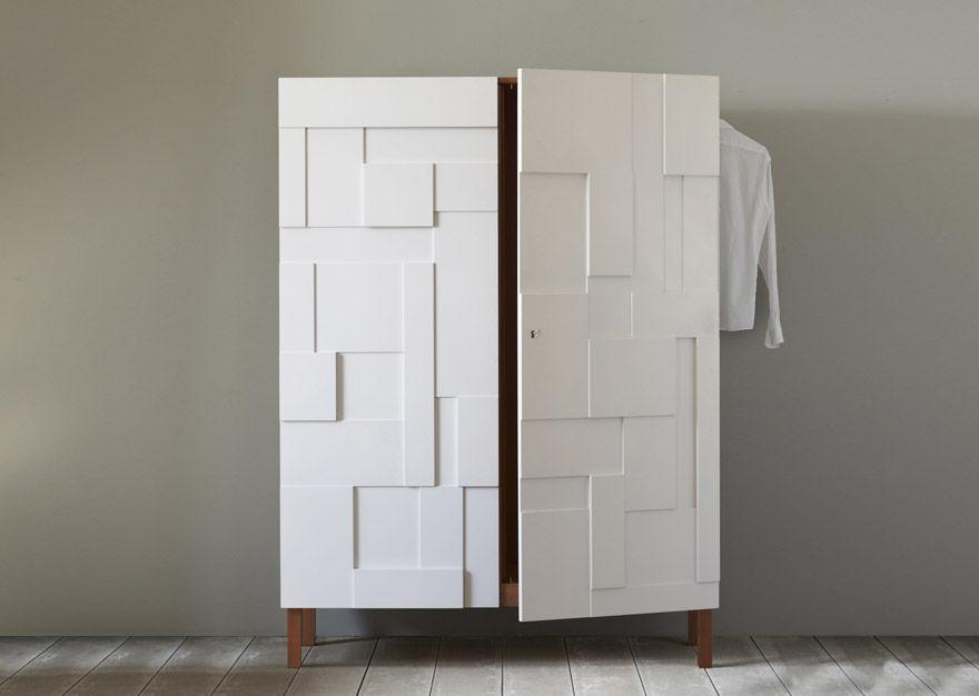 Moderner Kleiderschrank / Holz / lackiertes Holz / Schwingtüren ...