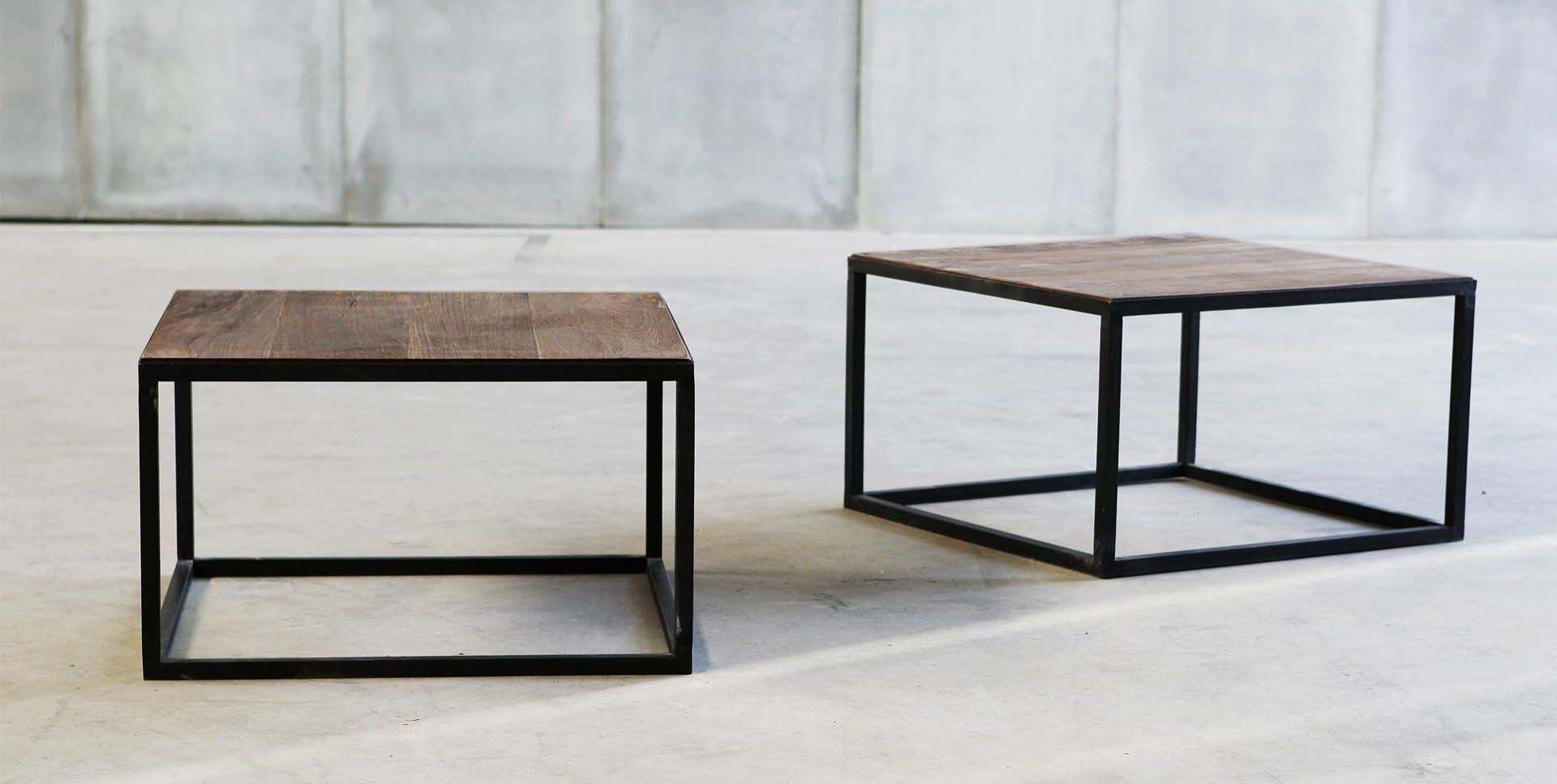 Moderne Couchtisch Holz Metall Rechteckig
