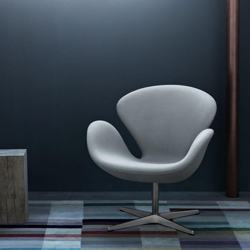 Sessel / Skandinavisches Design / Stoff / Leder / Chromstahl - SWAN ...