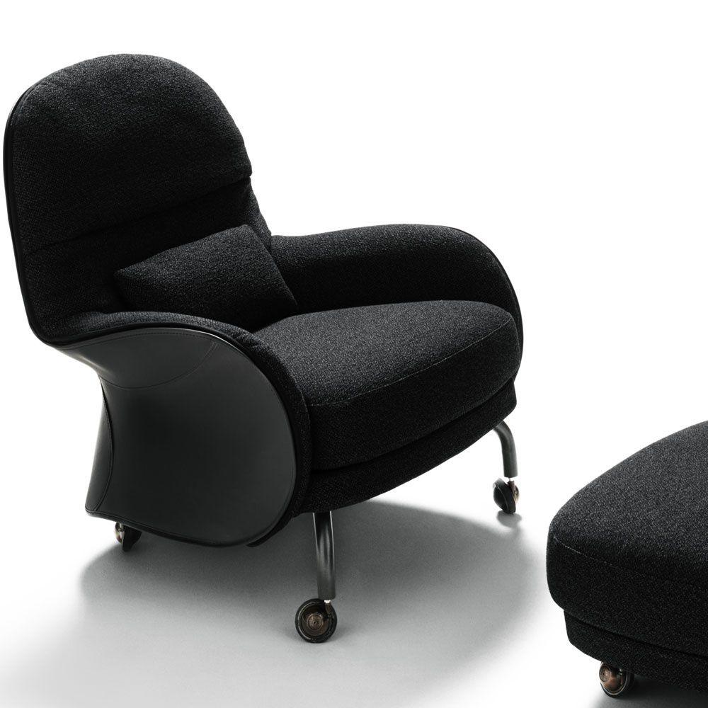 moderner sessel / leder / mit fußstütze / mit rollen - louisiana, Hause deko