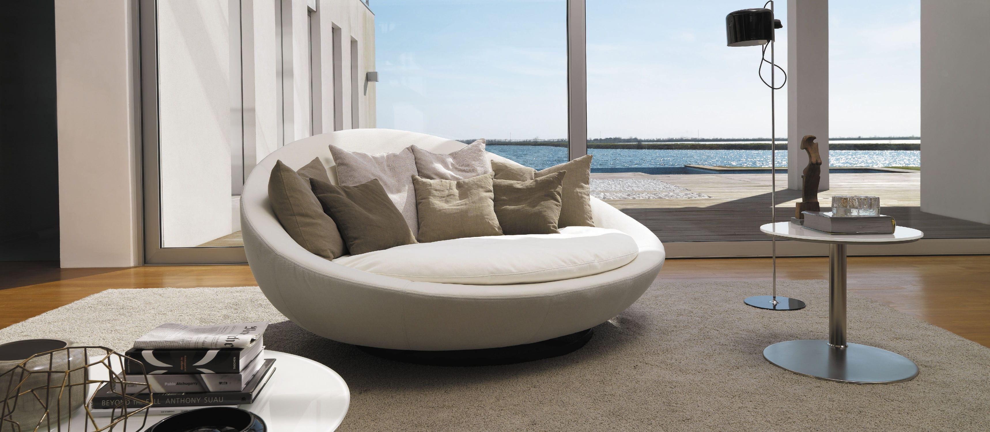 Rundes Sofa Modern Leder Stoff Lacoon Island By Jai Jalan