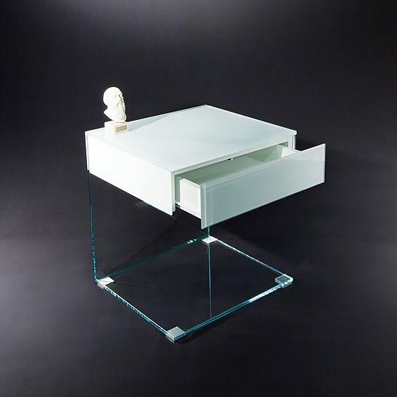 Nachttische Glas moderner nachttisch glas edelstahl rechteckig up by