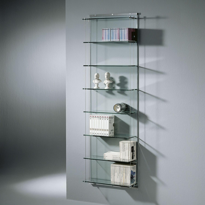 Wandmontiertes Regal / modern / Edelstahl / Glas - Dreieck GmbH