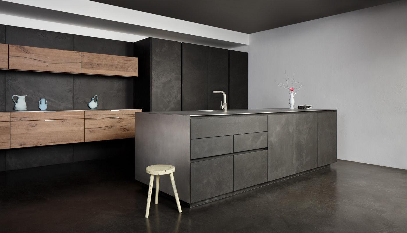 Küche Modern moderne küche beton aus eiche holzfurnier vintage
