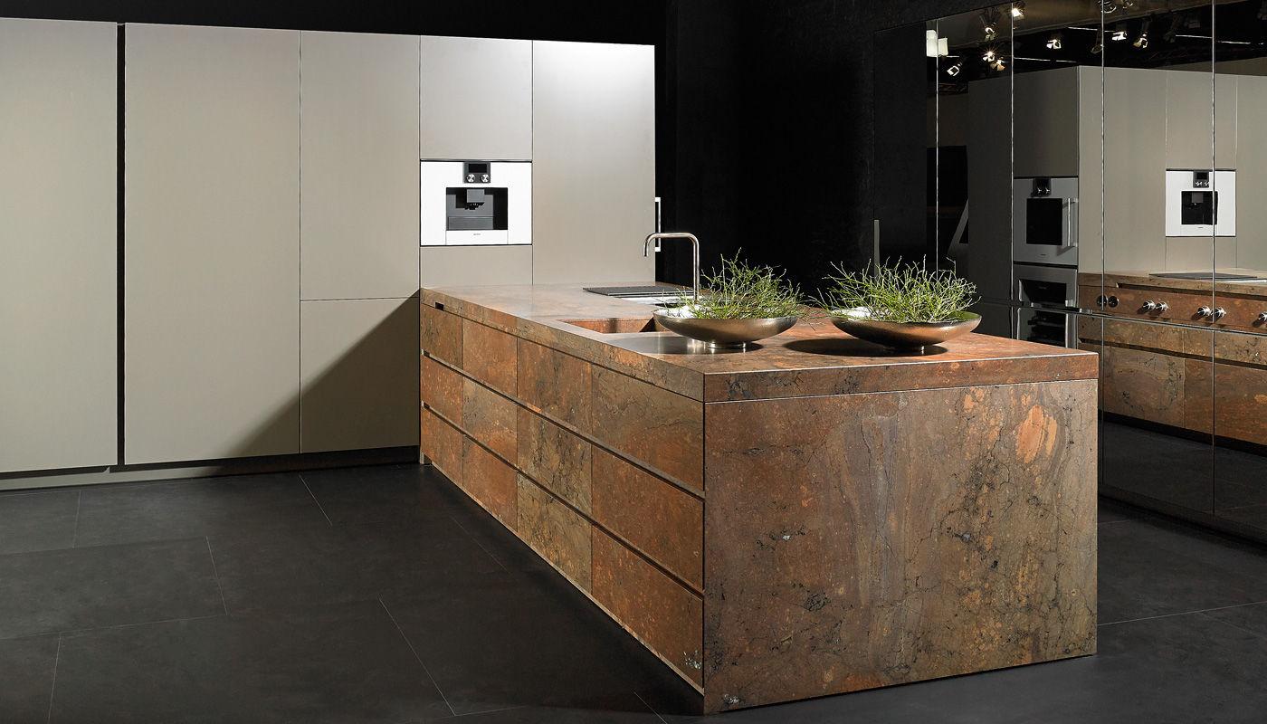 moderne küche / aus stein / kochinsel / lackiert - elegant brown, Hause ideen