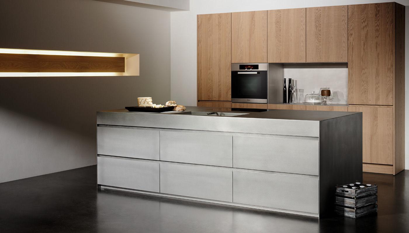Moderne Küche / Edelstahl / aus Eiche / Holzfurnier - SILVER TOUCH ...