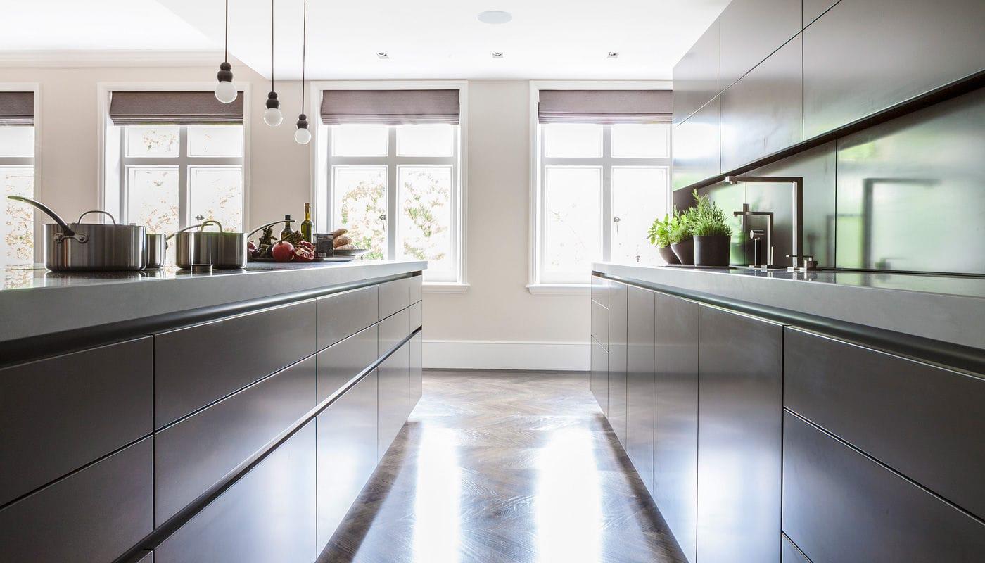 Moderne Küche / Stein / Holzfurnier / Kochinsel - VILLA LONDON ...