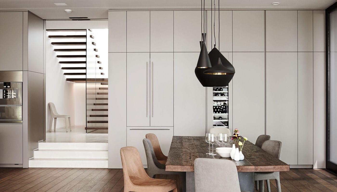 Moderne küche laminat kochinsel matt villa salzburg eggersmann küchen gmbh co