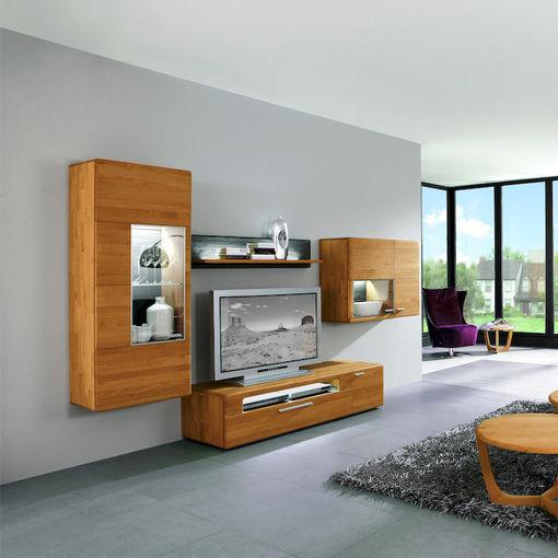 Moderne Wohnwand / Massivholz / Mit Integrierter Beleuchtung ...