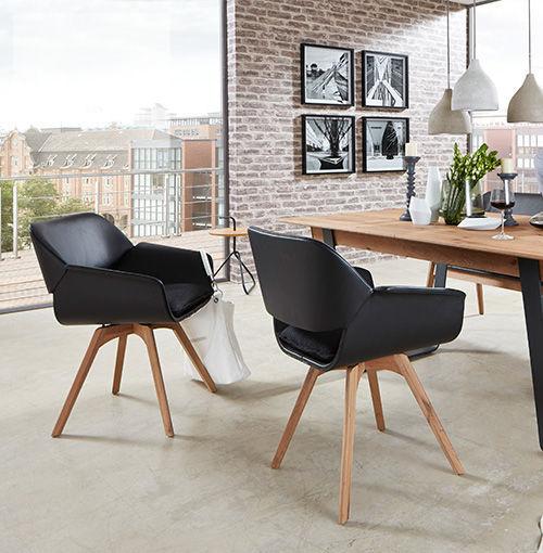 Moderner Stuhl / mit Armlehnen / aus Eiche / Leder - MAYA - Hartmann ...