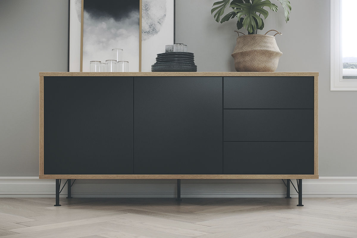 Skandinavisches Sideboard sideboard / skandinavisches design / aus eiche / stahl / melamin
