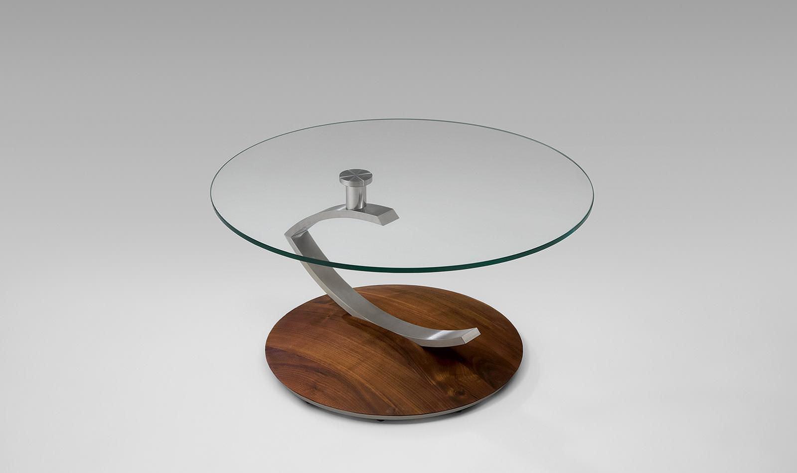 Moderner Couchtisch Glas Massivholz Rund 4019 Alfons