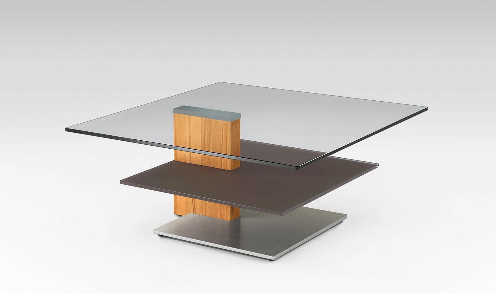 Moderner Couchtisch Holz Glas Quadratisch 4183 Alfons