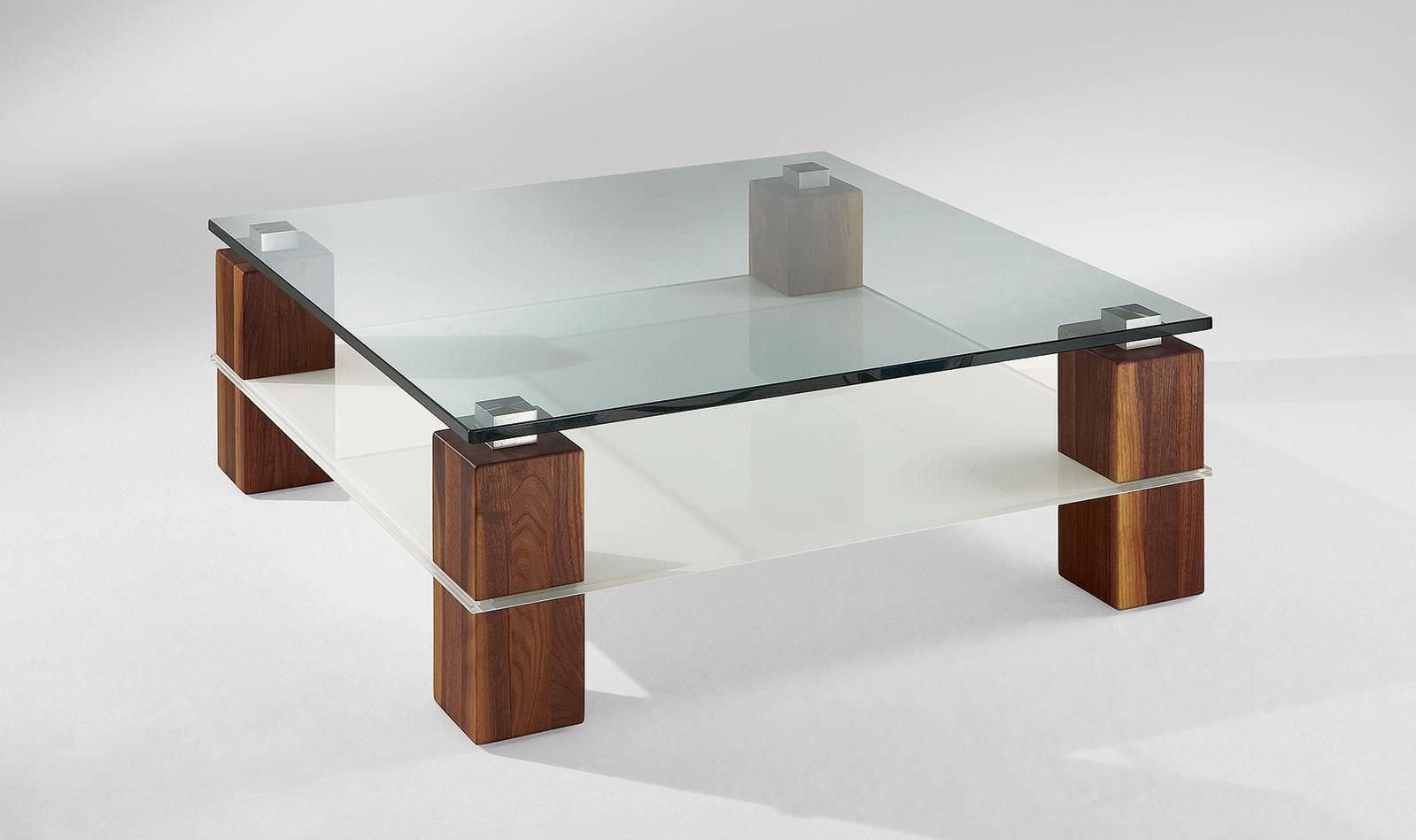 Moderner Couchtisch Glas Massivholz Quadratisch