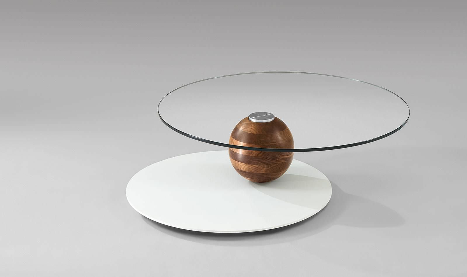 Moderner Couchtisch Holz Glas Rund 4317 Alfons Venjakob
