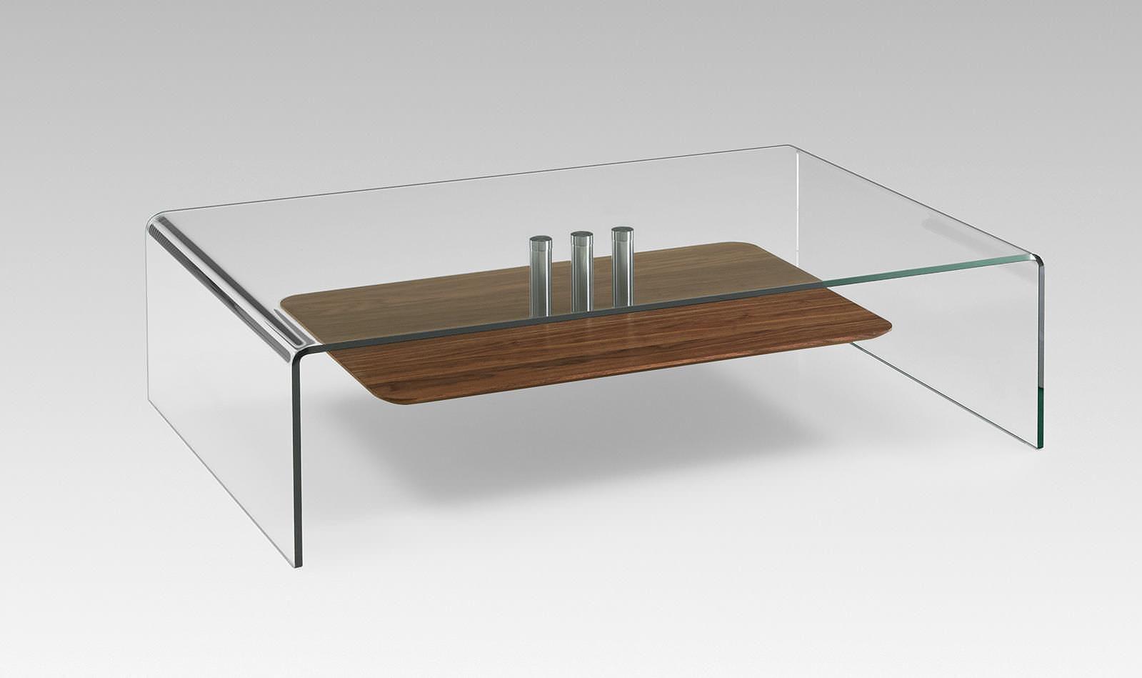Moderner Couchtisch Holz Glas Rechteckig