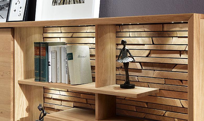 Wohnwand echtholz eiche  Niedrige Bibliothek / modern / Massivholz - FINO - Alfons Venjakob ...