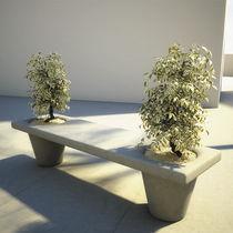 Parkbank / modern / Beton / integrierten Pflanzkübeln