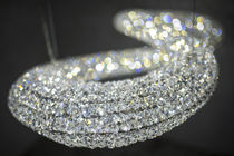 Moderner Lüster / aus Kristall / polierter Edelstahl / LED