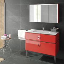 Doppelter Waschtischunterschrank / freistehend / Holz / modern ... | {Waschtischunterschrank freistehend 53}