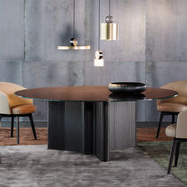 Moderner Esstisch / aus MDF / Holzfurnier / Rauchglas