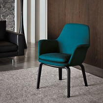 Moderner Sessel / Stoff / rot / gelb