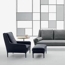 Moderner Sessel / Stoff / Leder / mit Fußstütze