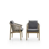Moderner Stuhl / mit Armlehnen / mit abnehmbarem Kissen / Stoff