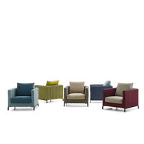 Moderner Sessel / Stoff / Synthetikfaser / mit abnehmbarem Kissen