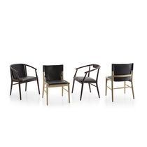 Moderner Stuhl / mit Armlehnen / Polster / aus Eiche