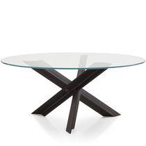 Moderner Tisch / Glas / Stahl / Edelstahl