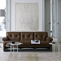 Modernes Sofa / Leder / Stoff / 3 Plätze