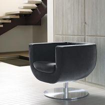 Moderner Sessel / Stoff / Aluminium / Leder