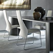 Moderner Stuhl / Polster / Kufen / Stoff