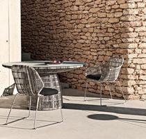 Moderner Stuhl / Polster / mit Armlehnen / Kufen