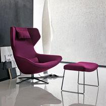 Moderner Sessel / Stoff / Leder / mit hoher Rückenlehne