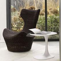 Moderner Sessel / aus Manilahanf / Ohren / mit Fußstütze