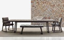 Moderner Tisch / aus Teakholz / rechteckig / für den Garten