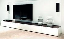 Modernes Fernsehmöbel / lackiertes Holz / Stahl